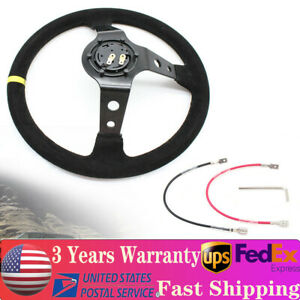 Suede Leather 350mm 14 Deep Dish 6 bolt Racing Steering Wheel Horn Button Usa