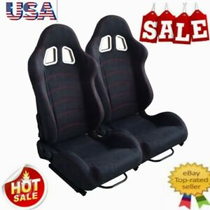 2pc Universal Reclinable Single Racing Seats Racing Bucket Seats Slider Us