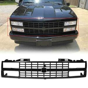 Glossy Black Painted Front Grille For 1988 93 Chevrolet C1500 K1500 89 90 91 92