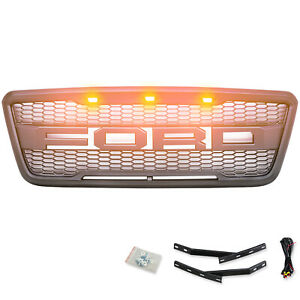 Fits For 2004 2008 Ford F 150 Front Grille Bumper Led Letter Grey Grill New
