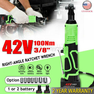3 8 90 42v 100nm Electric Cordless Ratchet Right Angle Wrench Tool 2 Battery