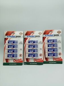 Lot Of 3 Brand New Pentel Hi polymer Erasers White 3 Pack 12 Total Erasers