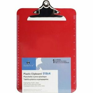 Business Source Clipboard Plastic W spring Clip Ruler 9 x12 Red bsn01864