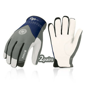 Vgo 2pairs 32 Goatskin Leather With Waterproof Winter Work Gloves ga8977fw