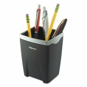 Fellowes Office Suites Divided Pencil Cup Plastic Black silver fel8032301