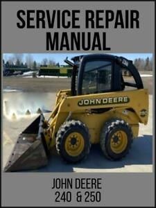 John Deere Skid Steer Loader 240 250 Factory Service Repair Manual Tm1747 Usb