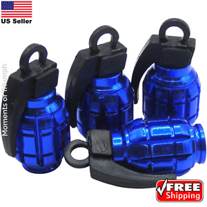 4x Grenade Tire Valve Stem Caps Universal Standard Fitting Car Truck Blue