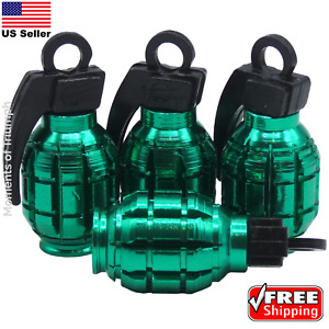 4x Grenade Tire Valve Stem Caps Universal Standard Fitting Car Truck Green