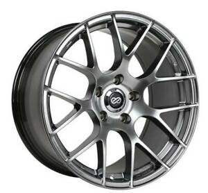 18x8 5 Hyper Silver Wheels Enkei Raijin 5x100 45 set Of 4