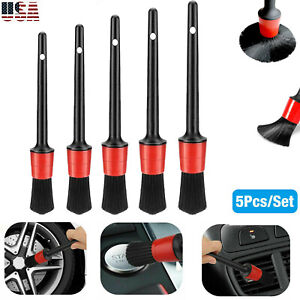 5pcs Car Detailing Brush Kit Plastic Vehicle Auto Interior For Wheel Clean Set