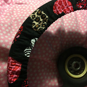 Zebra And Cheetah Hearts Steering Wheel Cover