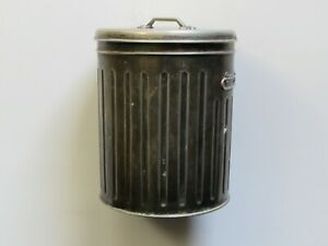 Unique Vintage Silver Plated Mini Trash Garbage Can With Inscribed Lid