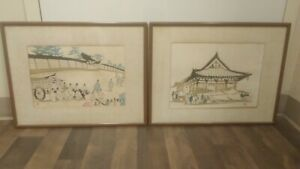 Japan Japanese Woodblock Wood Block Print Antique Vintage Signed