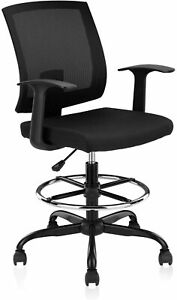 Clatina Adjustable Drafting Chair With Mesh Backrest And Foot Ring For Office
