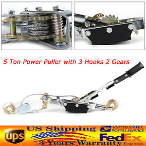 5 ton Dual Gear Power Puller Dual 2 Gear 3 Hooks Come Along Cable Puller New