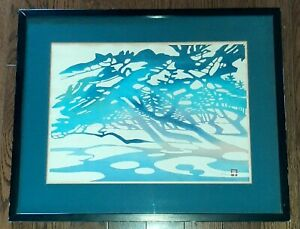 Vtg Nenjiro Inagaki Mikumo Wood Block Blue Waterprint Signed Dated Limited Ed