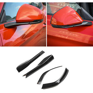Carbon Fiber Rearview Mirror Base Cover Trim Strips For Ford Mustang 2015 2018