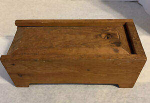 Vintage Handcrafted Wooden Box With Sliding Top 12x6x5
