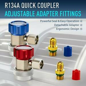 R134a Quick Coupler Adapters Lp Hp Ac Recharge Fittings Manifold Gauge Set Hvac