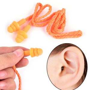 Soft Silicone Corded Ear Plugs Reusable Hearing Protection Protector Earplugs Ba