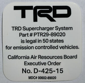 Toyota Trd Supercharger Carb Sticker Eo D 425 15 4runner Trucks And More