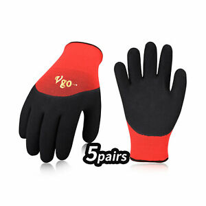 Vgo 5 pairs Freezer Winter Heavy Duty Work Gloves Double Lining rb6032