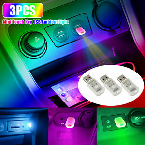 3x Mini Usb Led Car Interior Light Touch Key Neon Atmosphere Ambient Lamp Bulb