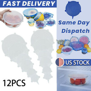 12x Reusable Silicone Stretch Lids Kitchen Food Storage Wraps Cover Various Blue