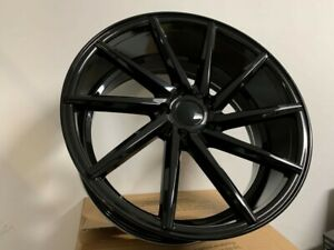 19 Staggered Gloss Black Swirl Style Rims Fits 5x114 3 Bolt Pattern