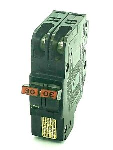 Fpe Nc230 30amp Thin 2 Pole Twin Stab lok Federal Pacific Plug In Breaker Tested