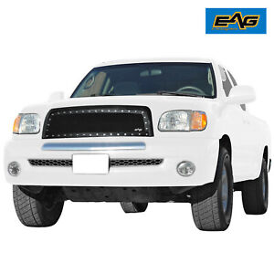 Eag Fits 2003 2006 Toyota Tundra Black Wire Mesh Rivet Grille With Abs Shell