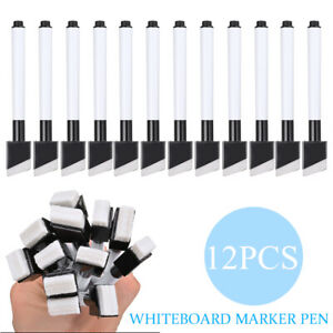 12pcs Magnetic Black Color Whiteboard Marker Pens Dry erase Pen Dry Wipe Markers