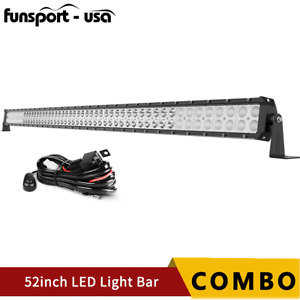 52inch 700w Led Work Light Bar Spot Flood Combo Wiring Truck Offroad 4wd 54