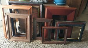 Vintage 7 Wood Picture Frame Lot Recycle Arts Crafts Project Deco 4x6 8x10 Geo