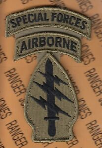 US Army Special Forces Group Airborne SFGA OCP w hook 1 piece patch SF tab set $8.00