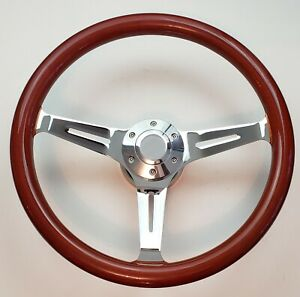 15 Real Mahogany Wood Steering Wheel Horn Button Adapter Chevy Ford Mopar