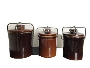 Stoneware Crock Cheese Butter Lid Wire Latch Brown Vintage Lot Of 3