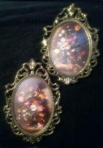 Vintage Made In Italy Ornate Frames Oval Convex Glass Floral Pictures