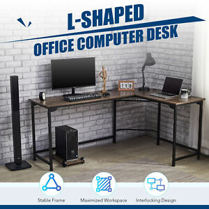 L shaped Gaming Desk Computer Corner Desk W Cable Management 53x19 72x19 Walnut