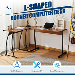 L shaped Gaming Desk Computer Corner Desk W Cable Management 39x19 44x19 Walnut