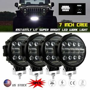 4pcs 7inch Round Led Work Lights Fog Driving Lamp For Jeep Suv Utv Truck Offroad
