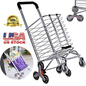 Folding Shopping Cart Utility Trolley Stair Climbing Cart For Grocery Travel Us
