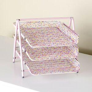 3 tier Paper Tray Organizer For Home And Office Pink Polka Dot