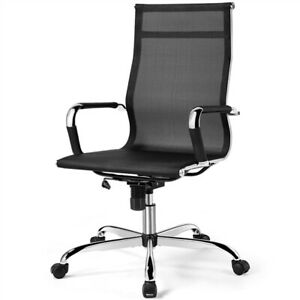 Ergonomic High back Mesh Computer Chair With Lumbar Support Wheels Black