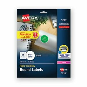 Avery High visibility Round Laser Labels 1 2 3in Dia White 600 pack ave5293