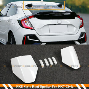 For 16 21 Civic Fk4 Fk7 5dr Hatchback White Type R Style Vortex Fin Roof Spoiler