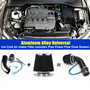 Aluminum Car Cold Air Intake Filter Induction Pipe Power Flow Hose System Set