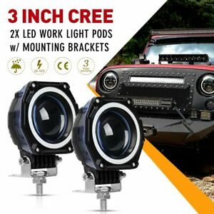 2x 3 inch Led Work Light Hi lo Beam Spot Pod Driving Offroad 12v Car Truck 4wd