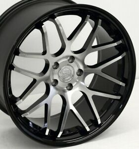20 Black Mirror Downforce Dc8 Staggered Wheels 20x8 5 20x10 5x114 3 05 Mustang