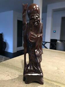Hand Carved Box Wood Asian Chinese Warrior Figurine